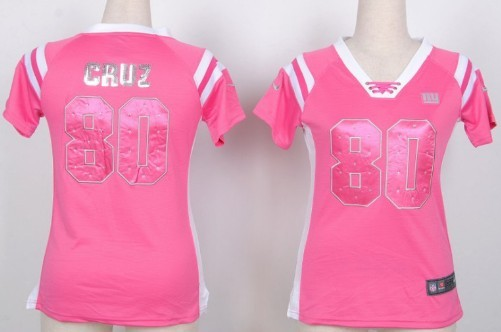 118360d19e0 nike new york giants 80 victor cruz drilling sequins pink womens jersey