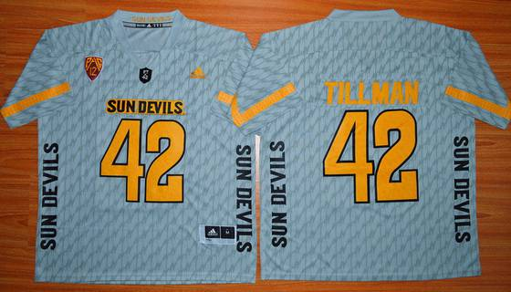 Men's Arizona State Sun Devils #42 Pat Tillman Gray Desert Ice 2015 College Football Jersey