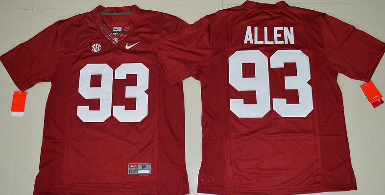 Men's Alabama Crimson Tide #93 Jonathan Allen Red Limited Stitched College Football Nike NCAA Jersey