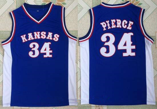 Men's Kansas Jayhawks #34 Paul Pierce Royal Blue College Basketball Retro Swingman Stitched NCAA Jersey