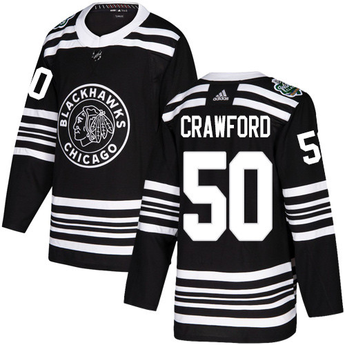 Adidas Blackhawks #50 Corey Crawford Black Authentic 2019 Winter Classic Stitched NHL Jersey