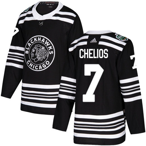 Adidas Blackhawks #7 Chris Chelios Black Authentic 2019 Winter Classic Stitched NHL Jersey