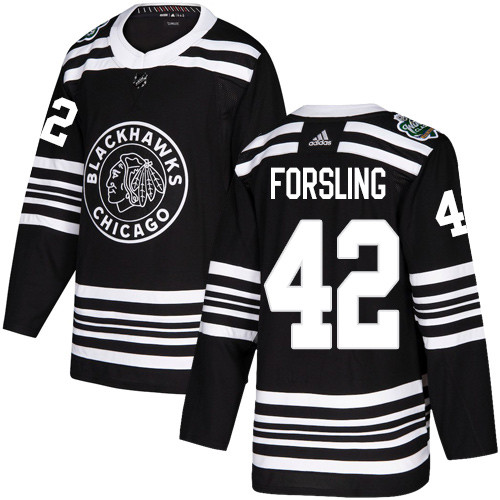 Adidas Blackhawks #42 Gustav Forsling Black Authentic 2019 Winter Classic Stitched NHL Jersey