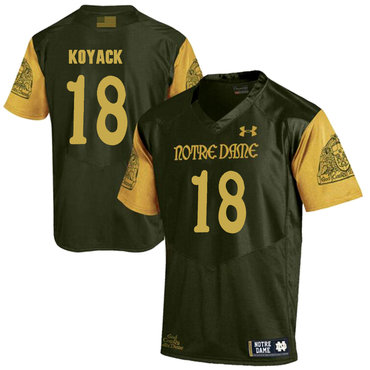 Notre Dame Fighting Irish 18 Ben Koyack Olive Green College Football Jersey