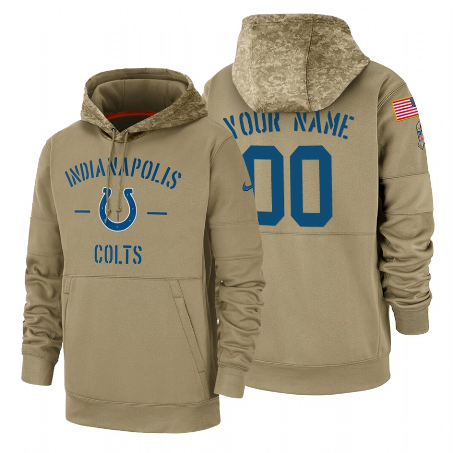 Indianapolis Colts Custom Nike Tan 2019 Salute To Service Name & Number Sideline Therma Pullover Hoodie