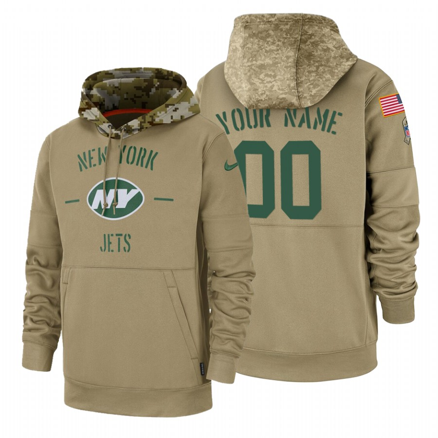 New York Jets Custom Nike Tan 2019 Salute To Service Name & Number Sideline Therma Pullover Hoodie