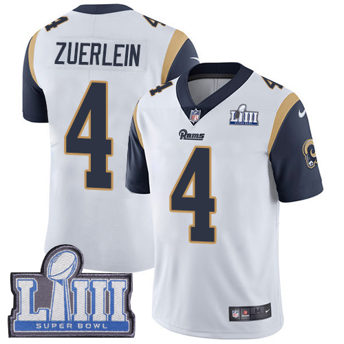 Men's Los Angeles Rams #4 Greg Zuerlein White Nike NFL Road Vapor Untouchable Super Bowl LIII Bound Limited Jersey