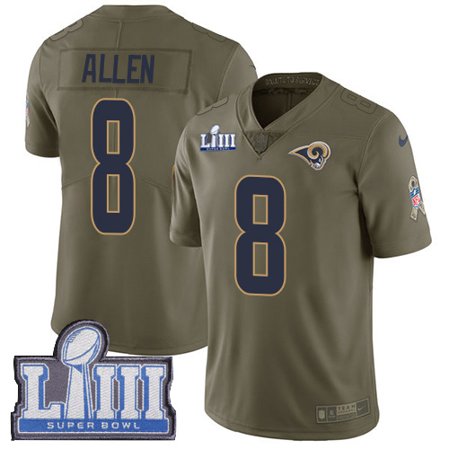 Men's Los Angeles Rams #8 Brandon Allen Olive Nike NFL 2017 Salute to Service Super Bowl LIII Bound Limited Jersey
