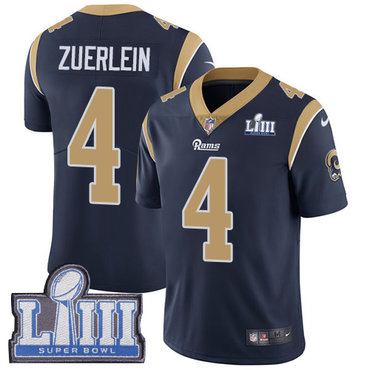 Men's Los Angeles Rams #4 Greg Zuerlein Navy Blue Nike NFL Home Vapor Untouchable Super Bowl LIII Bound Limited Jersey