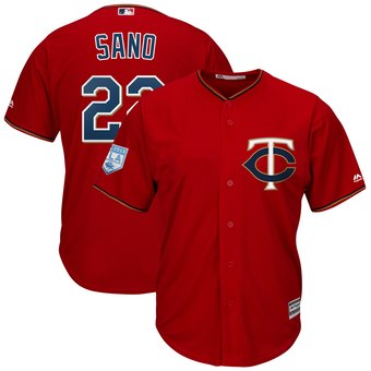 Men's Minnesota Twins 22 Miguel Sano Majestic Scarlet 2019 Spring Training Cool Base Player Jersey