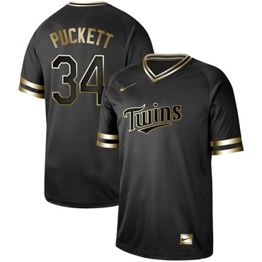 Twins #34 Kirby Puckett Black Gold Authentic Stitched Baseball Jersey