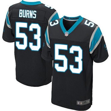 Panthers #53 Brian Burns Black Team Color Men's Stitched Football Elite Jersey
