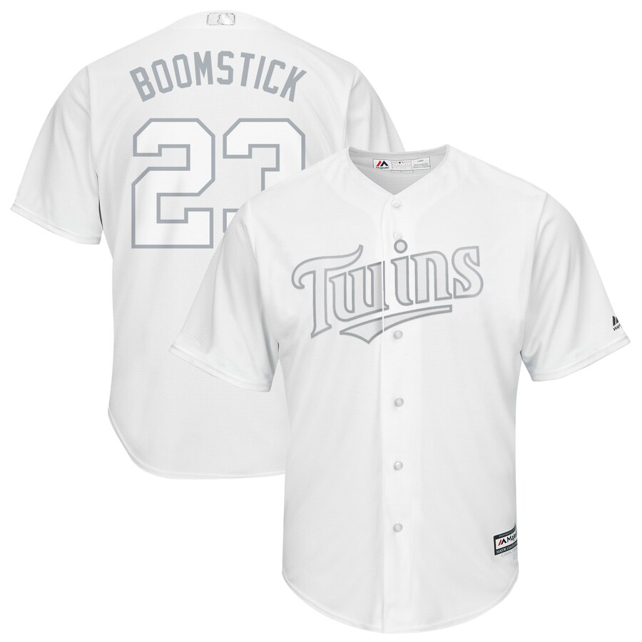 Men's Minnesota Twins 23 Nelson Cruz Boomstick White 2019 Players' Weekend Player Jersey