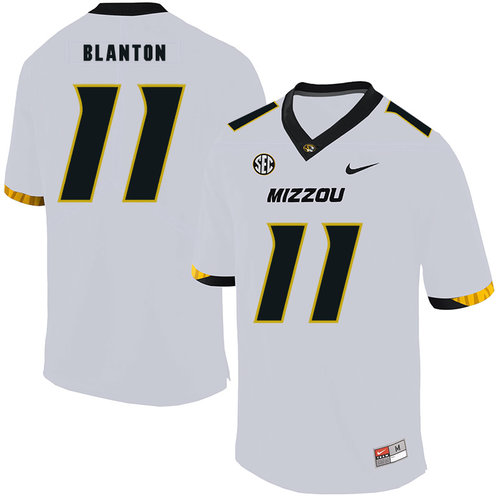 Missouri Tigers 11 Kendall Blanton White Nike College Football Jersey