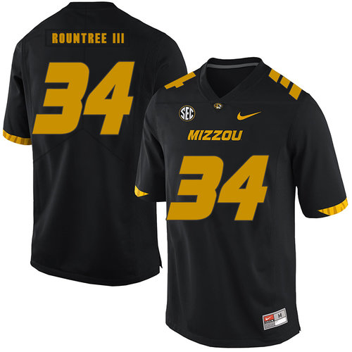 Missouri Tigers 34 Larry Rountree III Black Nike College Football Jersey