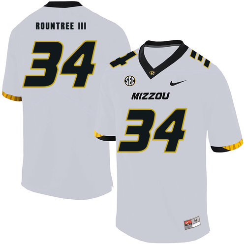 Missouri Tigers 34 Larry Rountree III White Nike College Football Jersey