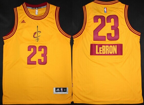 6f8199cc014 ... Cleveland Cavaliers 23 LeBron James Revolution 30 Swingman 2014  Christmas Day Yellow Jersey ...