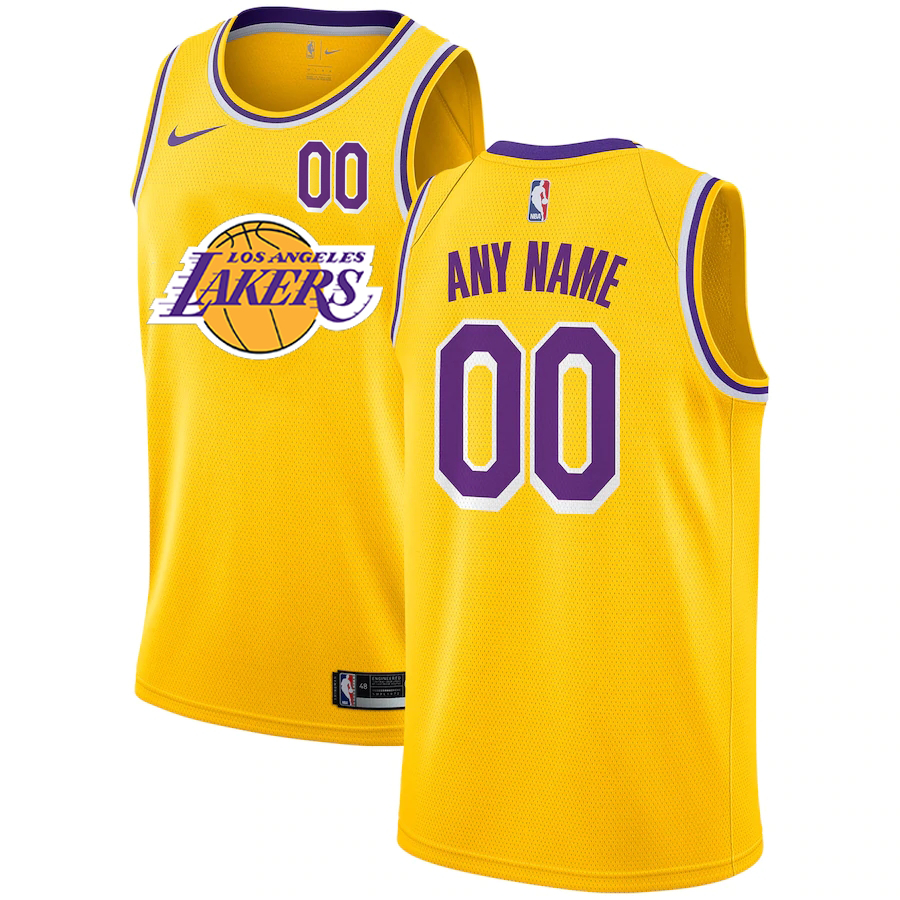 Lakers Customized Yellow Nike City Edition Number Swingman Jersey