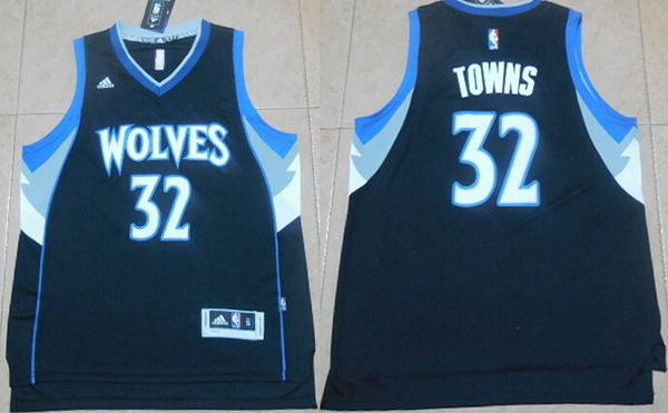Men's Minnesota Timberwolves #32 Karl-Anthony Towns Revolution 30 Swingman 2015 Draft New Black Jersey