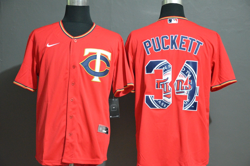 Men's Minnesota Twins #34 Kirby Puckett Red White Team Logo Stitched MLB Cool Base Nike Jersey
