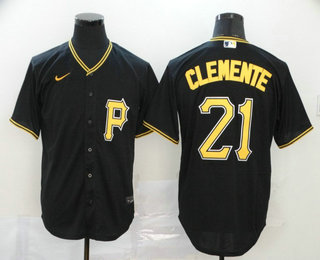 Men's Pittsburgh Pirates #21 Roberto Clemente Black Stitched MLB Cool Base Nike Jersey
