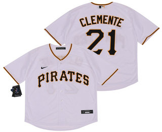 Men's Pittsburgh Pirates #21 Roberto Clemente White Stitched MLB Cool Base Nike Jersey