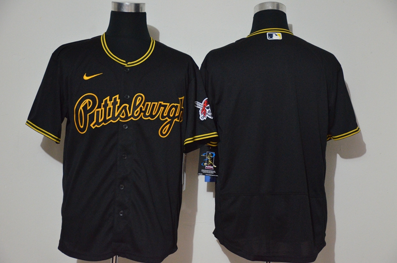Men's Pittsburgh Pirates Blank Black Pullover Throwback Stitched MLB Flex Base Nike Jersey