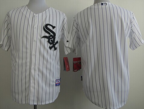 Chicago White Sox Blank White With Black Pinstripe Jersey