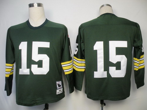 Green Bay Packers #15 Bart Starr Green Long-Sleeved Throwback Jersey