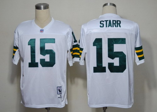 Green Bay Packers #15 Bart Starr White Short-Sleeved Throwback Jersey