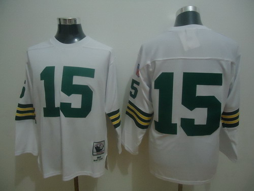 Green Bay Packers #15 Bart Starr White Long-Sleeved Throwback Jersey