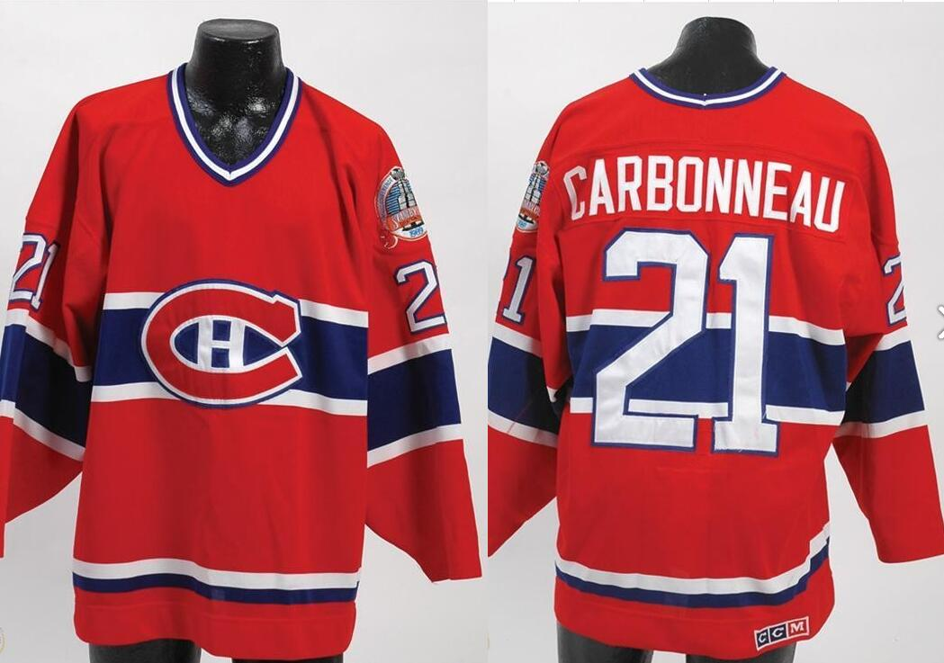 1989 GUY CARBONNEAU MONTREAL CANADIENS STANLEY CUP FINALS GAME JERSEY