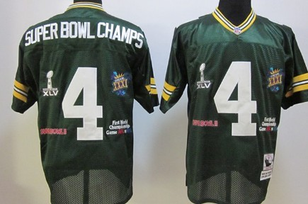Green Bay Packers #4 Super Bowl Champs Green Throwback Jersey