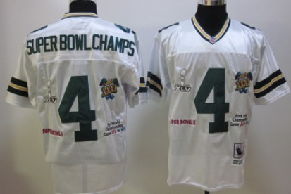 Green Bay Packers #4 Super Bowl Champs White Throwback Jersey