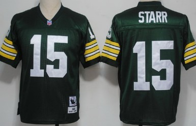 Green Bay Packers #15 Bart Starr Green Short-Sleeved Throwback Jersey