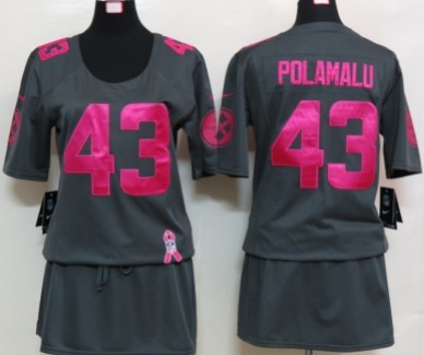 Nike Pittsburgh Steelers  43 Troy Polamalu Breast Cancer Awareness Gray Womens  Jersey 90a59a20b