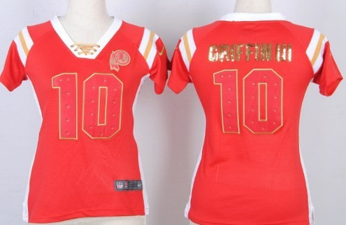 Nike Washington Redskins  10 Robert Griffin III Drilling Sequins Red Womens  Jersey f411d30e2