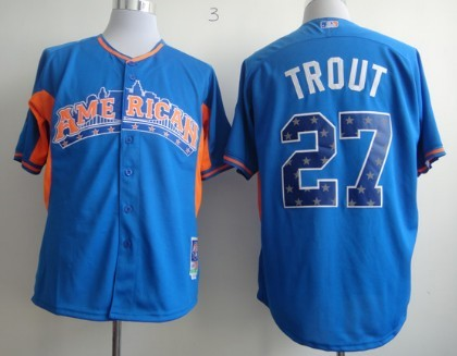 LA Angels of Anaheim #27 Mike Trout 2013 All-Star Blue Jersey
