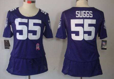 c0e683cc2a1 Nike Baltimore Ravens  55 Terrell Suggs Breast Cancer Awareness Purple  Womens Jersey