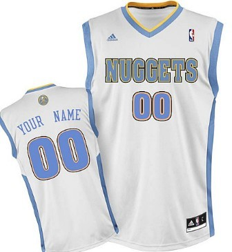 Mens Denver Nuggets Customized White Jersey
