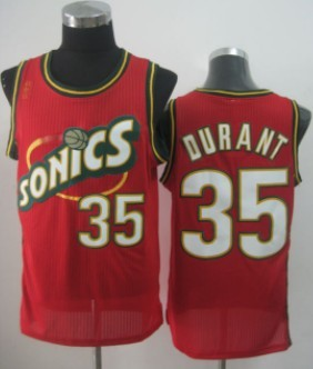 Seattle Supersonics #35 Kevin Durant 1995-96 Red Swingman Jersey