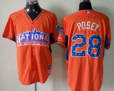 San Francisco Giants #28 Buster Posey 2013 All-Star Orange Jersey