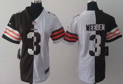 f5880b796 Nike Cleveland Browns  3 Brandon Weeden Brown White Two Tone Womens Jersey