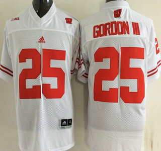 Wisconsin Badgers #25 Golden Tate III White College Football Jersey