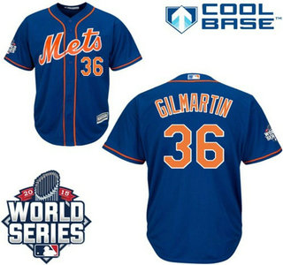 New York Mets #36 Sean Gilmartin lternate Royal Cool Base Jersey with 2015 World Series Participant Patch