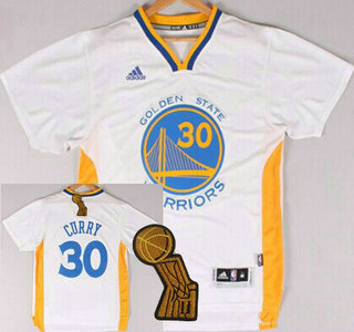 Golden State Warriors #30 Stephen Curry Revolution 30 Swingman 2014 New White Short-Sleeved Jersey With 2015 Finals Champions Patch