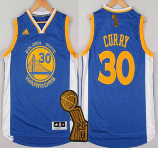 Golden State Warriors #30 Stephen Curry Revolution 30 Swingman 2014 New Blue Jersey With 2015 Finals Champions Patch
