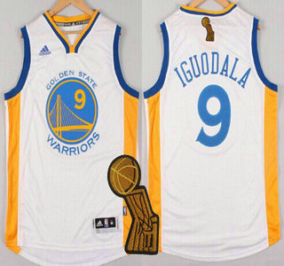 Golden State Warriors #9 Andre Iguodala Revolution 30 Swingman 2014 New White Jersey With 2015 Finals Champions Patch