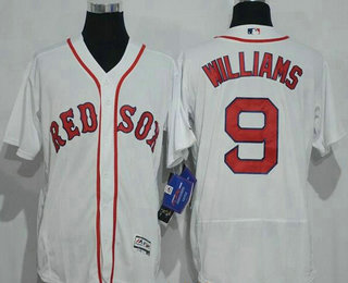 Men's Boston Red Sox #9 Ted Williams Retired White Stitched MLB 2016 Majestic Flex Base Jersey