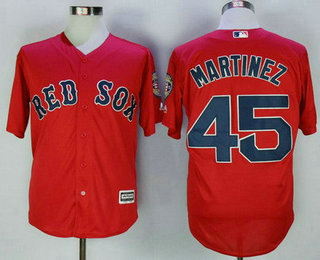 Men's Boston Red Sox #45 Pedro Martinez Retired Red Stitched MLB Majestic Cool Base Jersey